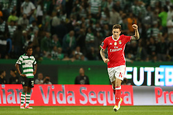 April 22, 2017 - Lisbon, Portugal - Benfica's Swedish defender Victor Lindelof celebrates after scoring a goal during the Portuguese League football match Sporting CP vs SL Benfica at the Alvadade stadium in Lisbon on April 22, 2017. (Credit Image: © Pedro Fiuza/NurPhoto via ZUMA Press)