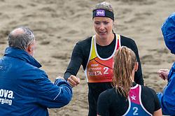 Madelein Meppelink, Loladina Zwaanswijk in action. The DELA NK Beach volleyball for men and women will be played in The Hague Beach Stadium on the beach of Scheveningen on 22 July 2020 in Zaandam.
