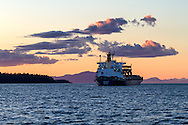 The freighter Geiranger anchored in Nanaimo Harbour from Biggs Park in Nanaimo, British Columbia, Canada
