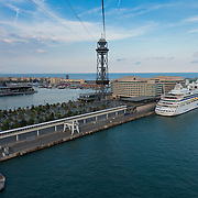 Barcelona port and cruise liner from cable car, Spain