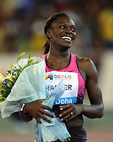 Friidrett<br /> IAAF Diamond League 2013<br /> Doha 10.05.2013<br /> Foto: imago/Digitalsport<br /> NORWAY ONLY<br /> <br /> Dawn Harper of the United States celebrates after the women s 100m hurdles final at the IAAF Diamond League in Doha, capital of Qatar, May 10, 2013. Harper claimed the title of the event with 12.60 seconds.