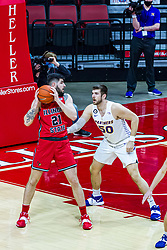 NORMAL, IL - February 27: Dusan Mahorcic backs into the lane defended by Austin Phyfe during a college basketball game between the ISU Redbirds and the Northern Iowa Panthers on February 27 2021 at Redbird Arena in Normal, IL. (Photo by Alan Look)