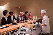 Chef Ryota Ueshima behind the bar at Kajitsu, 125 E. 39th St., New York.