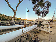 Historic Pilgrim Ship in Pieces in the Parking Lot at the Ocean Institute in Dana Point Harbor