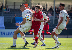 LIVERPOOL, ENGLAND - Wednesday, September 15, 2021: Liverpool's Owen Beck is blocked by AC Milan's Andrei Coubis, but was shown a yellow card, during the UEFA Youth League Group B Matchday 1 game between Liverpool FC Under19's and AC Milan Under 19's at the Liverpool Academy. Liverpool won 1-0. (Pic by David Rawcliffe/Propaganda)