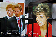 Postcards of Princess Diana and the two Princes Harry and William for sale at a souvenir shop in central London.