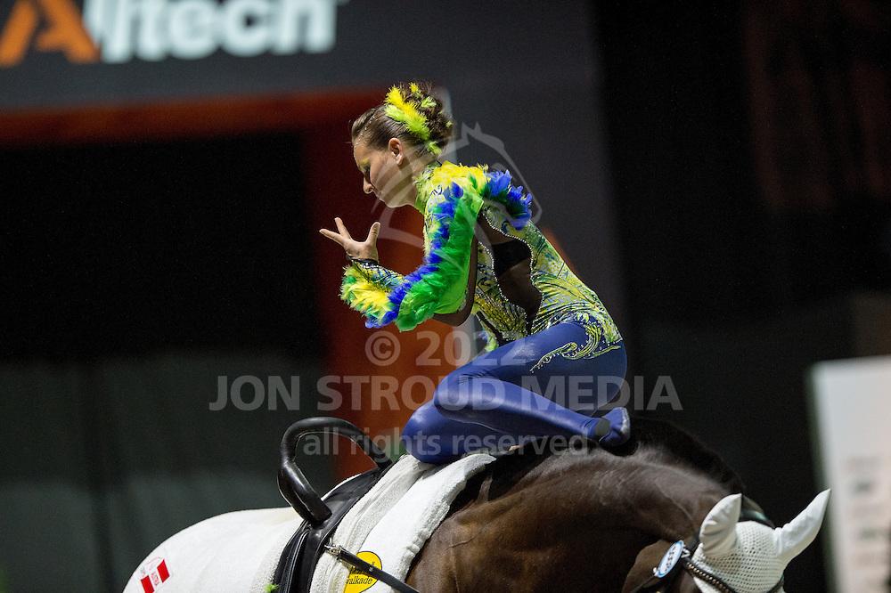 Jasmin Gipperich, (AUT), Polan 2, Claudia Westerheide - Individuals Women Freestyle Vaulting - Alltech FEI World Equestrian Games™ 2014 - Normandy, France.<br /> © Hippo Foto Team - Jon Stroud<br /> 03/09/2014