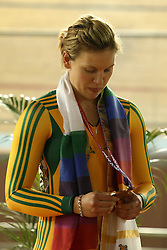 Emily Rosemond of Australia wins bronze during the women's sprint final held at the velodrome at the Indira Gandhi Sports Complex in New Delhi, India on the 7 October 2010..Photo by:  Ron Gaunt/SPORTZPICS/PHOTOSPORT
