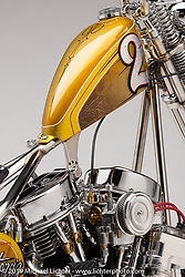 Brian Buttera's Take Two is a custom 1955 Panhead Chopper inspired by Brian's days of racing BMX. The frame, springer front end and rear fender are all handmade stainless steel, polished to resemble my chrome GT Pro Series in the Roseville sun on race day. <br /> Photographed by Michael Lichter in Sturgis, SD. July 31, 2019. ©2019 Michael Lichter