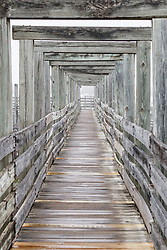 Wooden walkway/viewing deck above longhorn pens at Fort Worth Stockyards National Historic District, Fort Worth, Texas, USA.
