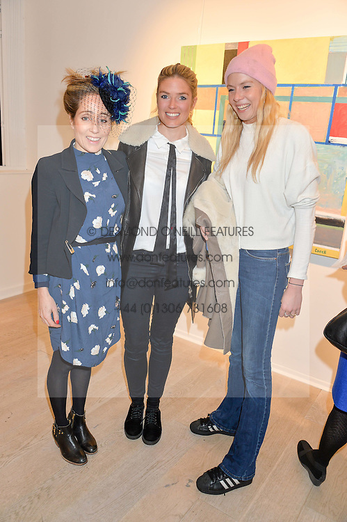 Left to right, PANDORA MERVYN-JONES, ISABELLA BRANSON and OCTAVIA ANSTRUTHER-GOUGH-CALTHORPE at a private view entitled Stop Making Sense featuring work by Georgiana Anstruther and Carol Corell held at Lacey Contemporary, 8 Clarendon Cross, London on 9th March 2016.