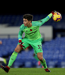 Everton's goalkeeper Joao Virginia during the SportPesa Trophy match at Goodison Park, Liverpool. PRESS ASSOCIATION Photo. Picture date: Tuesday November 6, 2018. See PA story SOCCER Everton. Photo credit should read: Richard Sellers/PA Wire