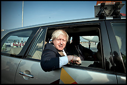 London Mayor Boris Johnson arrives at Hyderabad airport, on the Third day of a six-day tour of India, where he will be trying to persuade Indian businesses to invest in London, Tuesday November 27, 2012. Photo by Andrew Parsons / i-Images