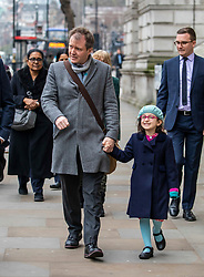 © Licensed to London News Pictures. 22/01/2020. London, UK. Richard Ratcliffe with his daughter Gabriella leaving the Foreign Office on his way to Downing Street to meet Boris Johnson for further discussion on the plight of his wife Nazani Zaghari-Ratcliffe who remains in prison in Iran. Nazani a dual-national British-Iranian, has been in detention in Tehran since her arrest on 3 April 2016. Photo credit: Alex Lentati/LNP