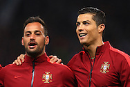 Beto and Cristiano Ronaldo of Portugal sing the national anthem - Argentina vs. Portugal - International Friendly - Old Trafford - Manchester - 18/11/2014 Pic Philip Oldham/Sportimage
