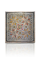 Roman mosaics - Geometric Mosaic. House of Okeanos, Ancient Zeugama, 2nd - 3rd century AD . Zeugma Mosaic Museum, Gaziantep, Turkey. .<br /> <br /> If you prefer to buy from our ALAMY PHOTO LIBRARY  Collection visit : https://www.alamy.com/portfolio/paul-williams-funkystock/roman-mosaic.html - Type -   Zeugma   - into the LOWER SEARCH WITHIN GALLERY box. Refine search by adding background colour, place, museum etc<br /> <br /> Visit our ROMAN MOSAIC PHOTO COLLECTIONS for more photos to download  as wall art prints https://funkystock.photoshelter.com/gallery-collection/Roman-Mosaics-Art-Pictures-Images/C0000LcfNel7FpLI