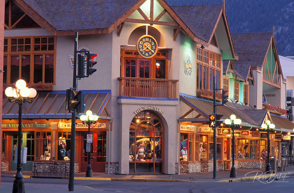 Shops and street lamps along Banff Avenue, Banff National Park, Alberta, Canada