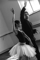 Alexander Agadzhanov rehearsing Roberta Marquez for her debut as Odette Odile in Swan Lake on the Royal Ballet's tour to Russia. Mariinsky Theatre, St. Petersburg<br /> <br /> Music: Pietr Ilyich Tchaikovsky