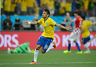 Sao Paulo, Brazil - Thursday, June 12, 2014: Opening match for the 2014 World Cup 2014 between Brazil and Croatia. Brazil won 3-1. Neymar celebrates his first goal.