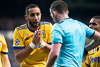 Juventus Medhi Benatia talking with the referee during Champion League match between Real Madrid and Juventus at Santiago Bernabeu Stadium in Madrid, Spain. April 11, 2018. (ALTERPHOTOS/Borja B.Hojas)