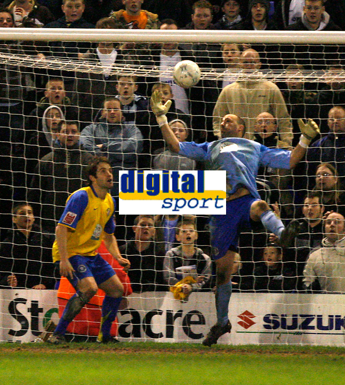 Photo: Paul Greenwood.<br />Tranmere Rovers v Hereford City. FA Cup Third Round. 05/01/2008. <br />Hereford keeper Wayne Brown clears the ball off the line