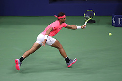 September 6, 2017 - New York City, New York, United States - Spain's Rafael Nadal returns the ball to Russia's Andrey Rublev during their 2017 US Open Men's Singles Quarterfinal match at the USTA Billie Jean King National Tennis Center in New York on September 6, 2017. (Credit Image: © Foto Olimpik/NurPhoto via ZUMA Press)