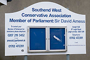 Two days after the killing of the Conservative member of parliament for Southend West, Sir David Amess MP, his Southend West Conservative Association constituency office on Leigh Road is a short distance from the scene of his murder at Belfairs Methodist Church in Leigh-on-Sea, on 17th October 2021, in Leigh-on-Sea, Southend , Essex, England. Amess was conducting his weekly constituency surgery when attacked with a knife by Ali Harbi Ali.