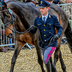 Pietro Sandei Badminton horse trials Gloucester England UK May 2019. Pietro Sandei equestrian eventing representing Italy riding Rubis DE Prere in the Badminton Horse trials 2019 Badminton Horse trials 2019 Winner Piggy French wins the title