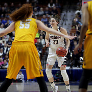 Katie Lou Samuelson, (right), UConn, defended by Marina Laramie, East Carolina, during the UConn Huskies Vs East Carolina Pirates Quarter Final match at the  2016 American Athletic Conference Championships. Mohegan Sun Arena, Uncasville, Connecticut, USA. 5th March 2016. Photo Tim Clayton