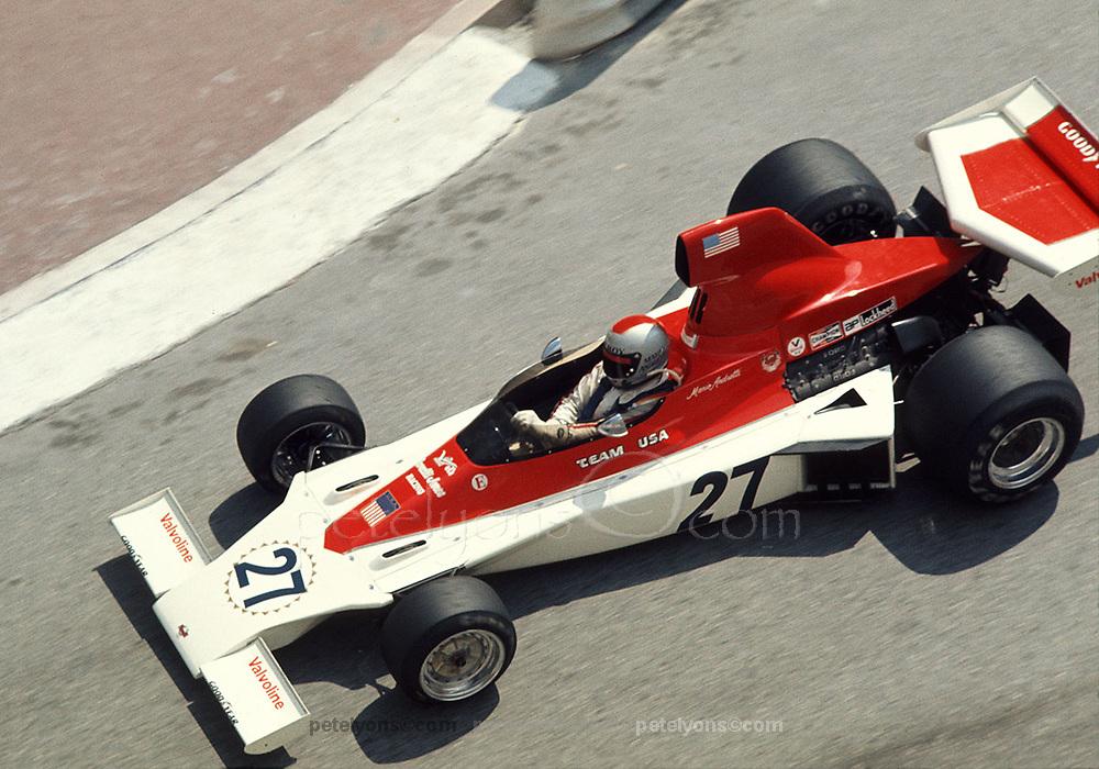 Mario Andretti in American-built Parnelli F1 car at 1975 Monaco GP