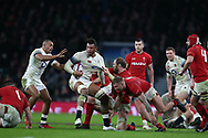 Courtney Lawes of England is held by Alun Wyn Jones of Wales. England v Wales, NatWest 6 nations 2018 championship match at Twickenham Stadium in Middlesex, England on Saturday 10th February 2018.<br /> pic by Andrew Orchard, Andrew Orchard sports photography