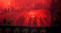 2021.09.24 Bialystok Pilka nozna PKO Ekstraklasa sezon 2021/2022. Jagiellonia Bialystok (zolto-czerwone) - Lech Poznan N/z kibice Jagiellonii odpalili na trybunach race fot Michal Kosc / AGENCJA WSCHOD