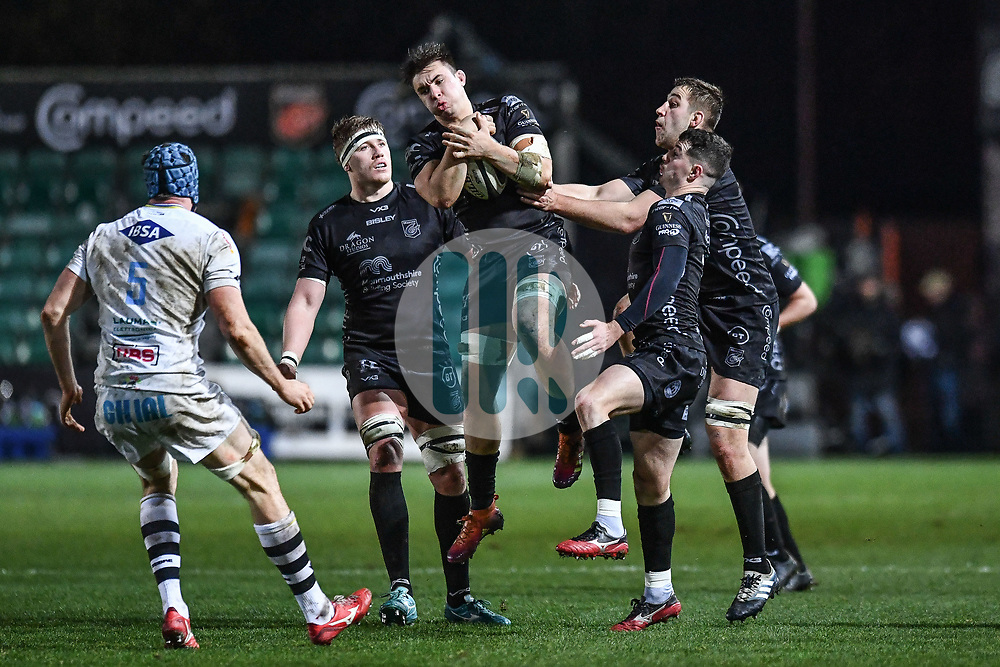Taine Basham of Dragons claims the high ball<br /> <br /> Photographer Craig Thomas/Replay Images<br /> <br /> Guinness PRO14 Round 7 - Dragons v Zebre - Saturday 30th November 2019 - Rodney Parade - Newport<br /> <br /> World Copyright © Replay Images . All rights reserved. info@replayimages.co.uk - http://replayimages.co.uk