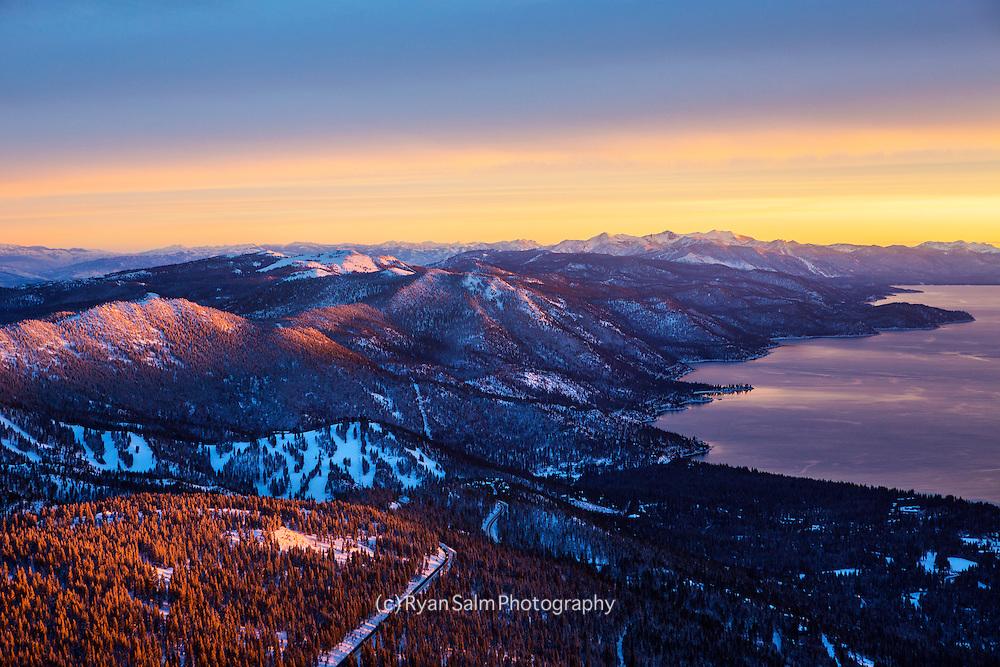 Sunset over Lake Tahoe's East Shore, Nevada