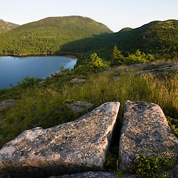 View from the granite summit of Conners Nubble above Eagle Lake in Maine's Acadia National Park.  Pemetic Mountain is across the lake.