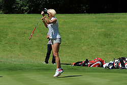 © Licensed to London News Pictures. 01/07/2017. London, UK, Actress and tv personality Denise Van Outen is excited after an excellent putt on the green during The 2017 Celebrity Cup golf tournament at the Celtic Manor Resort, Newport, South Wales. Photo credit: Jeff Thomas/LNP