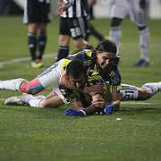 Fenerbahce's Selcuk SAHIN (F) and Mehmet TOPUZ (B) during their Turkish Superleague Derby match Besiktas between Fenerbahce at the Inonu Stadium at Dolmabahce in Istanbul Turkey on Sunday, 20 February 2011. Photo by TURKPIX