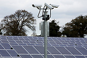Security cameras watch for anything unusual going on at Salhouse Solar Park that has an electrical output of 4.987 MW saving emissions of 4890 tonnes of C02 per year. Norfolk. UK.(photo by Andrew Aitchison / In pictures via Getty Images)