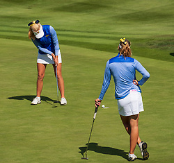 Gleneagles, Scotland, UK; 9 August, 2018.  Day two of European Championships 2018 competition at Gleneagles. Men's and Women's Team Championships Round Robin Group Stage - 2nd Round. Four Ball Match Play format. Johanna Gustavsson and Julia Engstrom (L) of Sweden