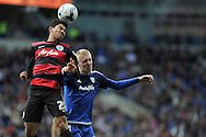 QPR's Massimo Luongo (l) and Cardiff City's Lex Immers challenge for a header. Skybet football league championship match, Cardiff city v Queens Park Rangers at the Cardiff city stadium in Cardiff, South Wales on Saturday 16th April 2016.<br /> pic by Carl Robertson, Andrew Orchard sports photography.