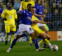 Photo: Steve Bond.<br />Leicester City v Leeds United. Coca Cola Championship. 13/03/2007. Levi Porter (left) tussles with Robbie Blake