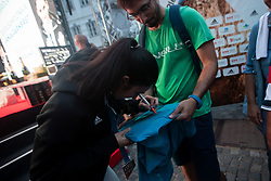 Mia Krampl signing autograph during PZS reception of Slovenian national climbing team after IFSC Climbing World Championships in Hachioji (JPN) 2019, on August 23, 2019 at Ministry of Education, Science and Sport, Ljubljana, Slovenia. Photo by Grega Valancic / Sportida