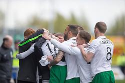 Hibernian's Boyle cele scoring their first goal. <br /> Falkirk 0 v 3 Hibernian, Scottish Championship game played at The Falkirk Stadium 2/5/2015.