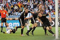 Fotball<br /> VM 2010<br /> Tyskland v Argentina<br /> 03.07.2010<br /> Foto: Witters/Digitalsport<br /> NORWAY ONLY<br /> <br /> 3:0 Jubel Torschuetze vorn Arne Friedrich, Thomas Mueller, Per Mertesacker, Miroslav Klose (Deutschland)<br /> Fussball WM 2010 in Suedafrika, Viertelfinale Argentinien - Deutschland