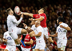 Elliot Daly of England and Dan Biggar of Wales vie for the high ball<br /> <br /> Photographer Simon King/Replay Images<br /> <br /> Friendly - Wales v England - Saturday 17th August 2019 - Principality Stadium - Cardiff<br /> <br /> World Copyright © Replay Images . All rights reserved. info@replayimages.co.uk - http://replayimages.co.uk