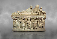"""Roman relief sculpted sarcophagus of Aurelia Botiano and Demetria depicted reclining on the lid, 2nd century AD, Perge Inv 1.35.99. Antalya Archaeology Museum, Turkey.<br /> <br /> it is from the group of tombs classified as. """"Columned Sarcophagi of Asia Minor"""". The lid of the sarcophagus is sculpted into the form of a """"Kline"""" style Roman couch on which lie Julianus &  Philiska. This type of Sarcophagus is also known as a Sydemara Type of Tomb. ..<br /> <br /> If you prefer to buy from our ALAMY STOCK LIBRARY page at https://www.alamy.com/portfolio/paul-williams-funkystock/greco-roman-sculptures.html . Type -    Antalya    - into LOWER SEARCH WITHIN GALLERY box - Refine search by adding a subject, place, background colour, etc.<br /> <br /> Visit our ROMAN WORLD PHOTO COLLECTIONS for more photos to download or buy as wall art prints https://funkystock.photoshelter.com/gallery-collection/The-Romans-Art-Artefacts-Antiquities-Historic-Sites-Pictures-Images/C0000r2uLJJo9_s0"""