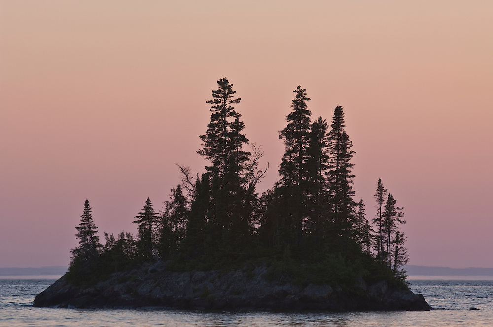 Small islands stud Lake Superior at Isle Royale National Park.