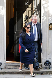 © Licensed to London News Pictures. 18/04/2017. London, UK. International Development Secretary PRITI PATEL and Scottish Secretary DAVID MUNDELL leave Downing Street after Prime Minister Theresa May called for an early election on 18 April 2017.  Photo credit: Tolga Akmen/LNP