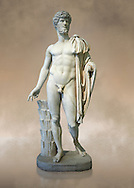 Full length frontal view of Roman staue of Lucius Verus with the idealised body of Diomedes, AD 160-170, inv 6095, Naples National Archaeological Museum ..<br /> <br /> If you prefer to buy from our ALAMY STOCK LIBRARY page at https://www.alamy.com/portfolio/paul-williams-funkystock/greco-roman-sculptures.html . Type -    Naples    - into LOWER SEARCH WITHIN GALLERY box - Refine search by adding a subject, place, background colour, museum etc.<br /> <br /> Visit our ROMAN WORLD PHOTO COLLECTIONS for more photos to download or buy as wall art prints https://funkystock.photoshelter.com/gallery-collection/The-Romans-Art-Artefacts-Antiquities-Historic-Sites-Pictures-Images/C0000r2uLJJo9_s0