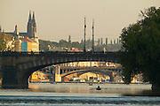 Czeck Republic, Prague, rowboat on the Vltave river under the Legií bridge